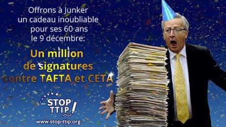 [NoalTTIP] 1 millón de firmas contra el TTIP y el CETA el 9 de diciembre. Feliz cumpleaños Sr. Juncker